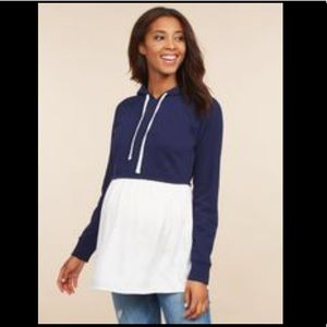 Long Sleeve Hooded Maternity Sweatshirt Twofer